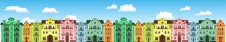 farbige Stadthäuser. gegen den Himmel mit Wolken
