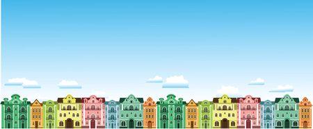 Farbige Stadthäuser. Gegen den Himmel mit Wolken. Vektor-Illustrationen.