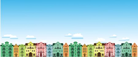 Colored town houses. Against the sky with clouds. Vector illustrations.