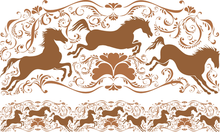 modules: Tracery with horses and monograms. Ornament vector pattern. Vintage ornament. Decorative modules comprising.
