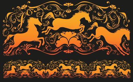 comprising: Tracery with horses and monograms. Ornament vector pattern. Vintage ornament. Decorative modules comprising.