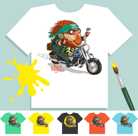 Pictures on T-shirts. T Shirts Vector Collection. �ool bearded biker rides a motorcycle. Illustration without Gradients. Çizim