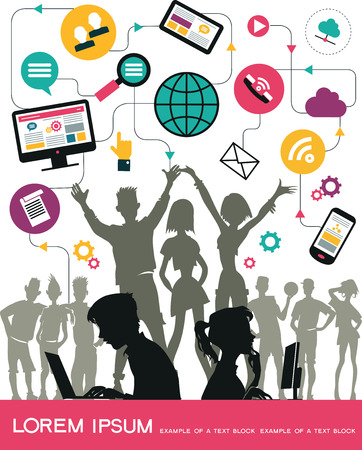 communicate concept: Infographics background social media network. Vector. Concept Internet comunications. Set icons. Silhouette of a group of young people to communicate on the network. Isolated objects.