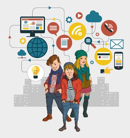 Infografik Hintergrund Social-Media-Netzwerk. Konzept Internet comunications. Set Symbole. Gruppe der modernen Jugendlichen.