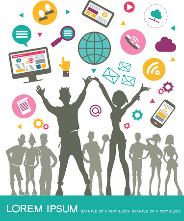 communicate concept: Infographic background social media network. Vector. Concept Internet comunications. Set icons. Silhouette of a group of young people to communicate on the network. Isolated objects.