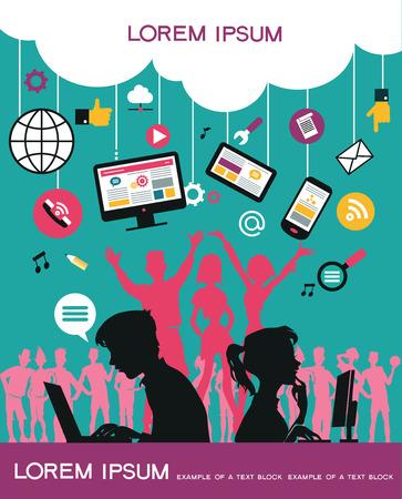 Infografik Hintergrund Social-Media-Netzwerk. Vektor. Konzept Internet comunications. Set Symbole. Silhouette einer Gruppe von Jugendlichen auf dem Netzwerk zu kommunizieren. Isolierte Objekte.