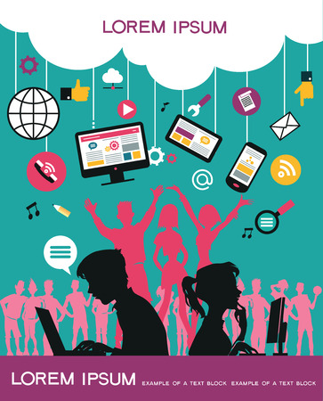 communicate  isolated: Infographics background social media network. Vector. Concept Internet comunications. Set icons. Silhouette of a group of young people to communicate on the network. Isolated objects.