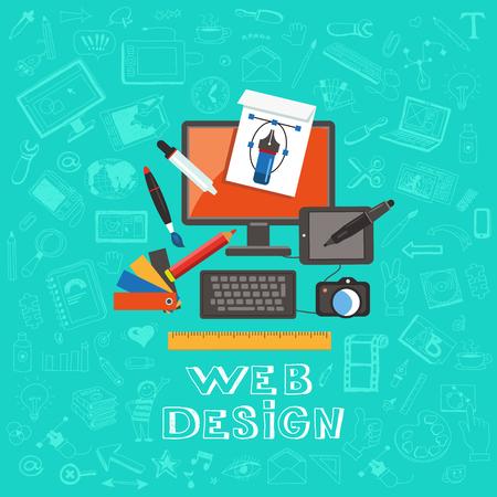 Eine Reihe von flachen Icons Design-Konzept für Web-Design auf einem Hintergrund von Handzeichnung Symbole. Flache Vektor. Illustration