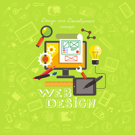 Set of flat design concept icons for web design. Flat vector illustration of design and development concepts on a background of hand drawing icons. Çizim