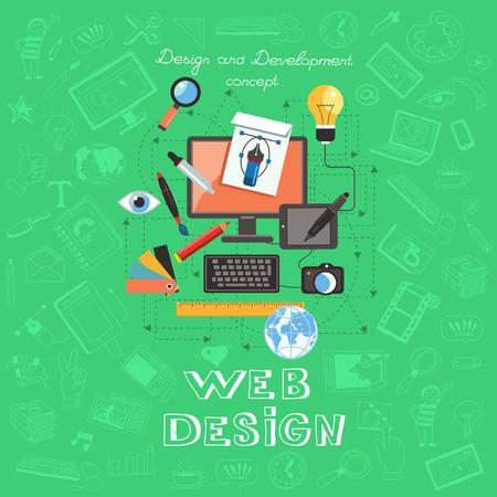 Set flache Design-Konzept-Icons für Web-Design. Flache Vektor-Illustration von Design und Entwicklung Konzepte auf dem Hintergrund der Handzeichnung Symbole.