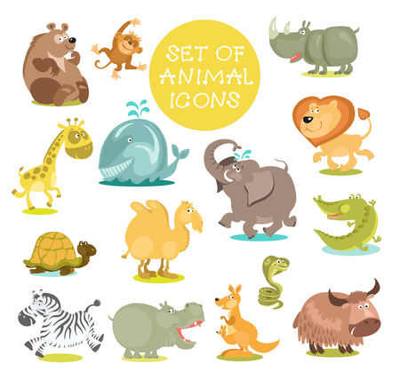 Collection of cute cartoon animals. Hand drawn. Isolated on a white background.