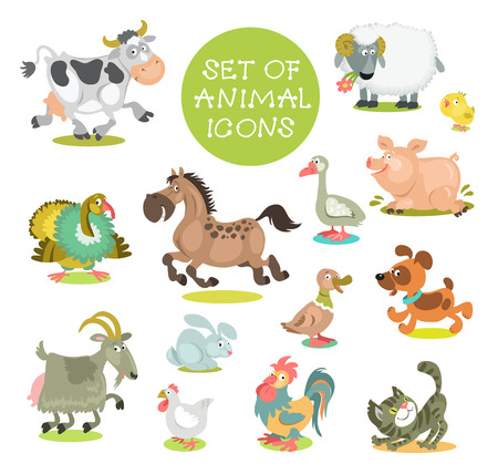 Collection of cute cartoon animals. Set of icons pets. Hand drawn. Isolated on a white background.