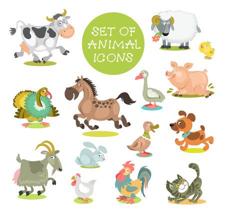 Sammlung von niedlichen Comic-Tiere. Reihe von Icons Haustiere. Handgemalt. Isoliert auf einem weißen Hintergrund.