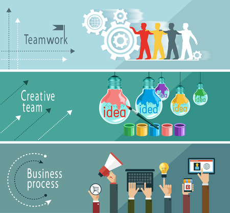 Modern vector illustration concept. Teamwork. Business process. Creative team. The file is saved in the version AI10 EPS. This image contains transparency.