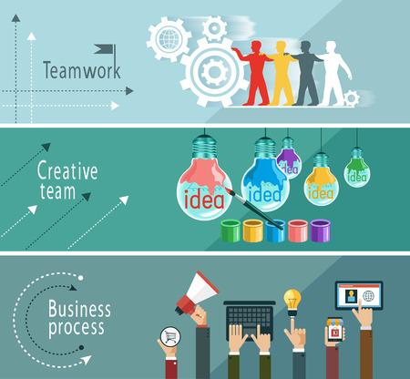 Moderne Vektor-Illustration Konzept. Zusammenspiel. Geschäftsprozess. Kreativteam. Die Datei wird in der Version AI10 EPS gespeichert. Dieses Bild enthält Transparenz. Illustration