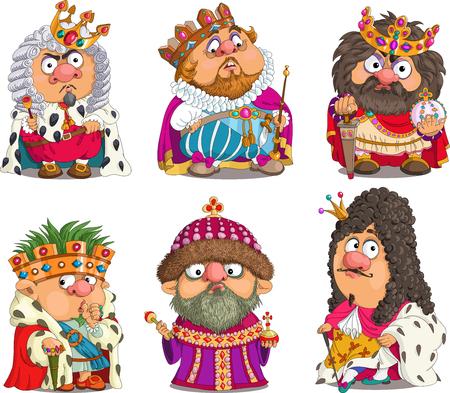 rey caricatura: La caricatura cómica. Dibujos animados. Vector. Conjunto divertido Reyes. de dibujos animados farsa. Caracteres. objetos aislados. Vectores