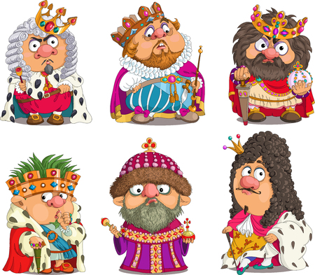 period costume: The comic caricature. Cartoon. Vector. Set Funny Kings. Travesty cartoon. Characters.  Isolated objects. Illustration