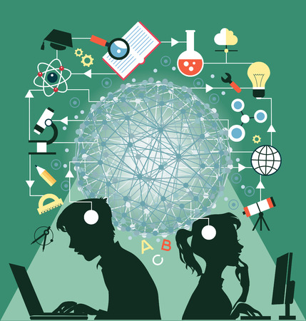 The concept of education. Icons education. Online education, Silhouettes of boy and girl  involved in the computers in an environment of education icons. Illustration