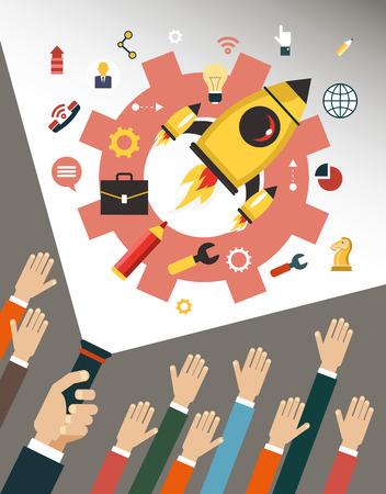 Business-Infografiken Vorlage beginnen. Vector Konzepte und Symbole in flachen Stil - Start und Innovation Business-Zeichen und Symbolen. Starten und starten. Hand des Mannes mit einer Laterne beleuchtet Business icons.
