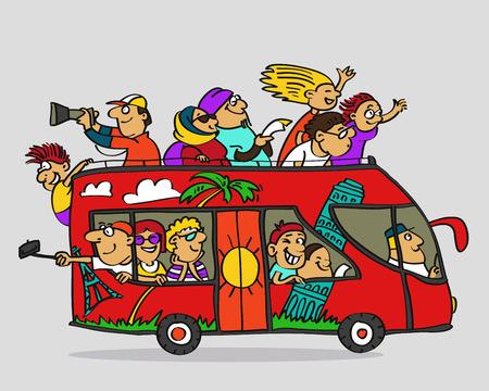 Hand getekend. Vector illustratie. Cartoon. Tourist dubbeldekker bus en gelukkig toeristen in het. Stock Illustratie