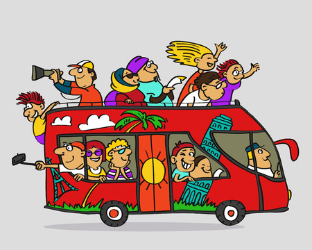Hand drawn. Vector illustration. Cartoon. Tourist double-decker bus and happy tourists in it.