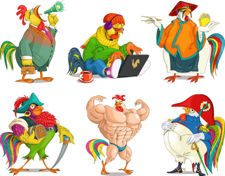 The comic caricature. Cartoon. Vector. Set Funny cocks. Rooster with a megaphone. laptop. Pirate cock. Bodybuilder. Napoleon.  Isolated objects.