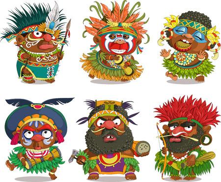 La caricature comique. Papoue africaine drôle. Dessin animé. Vecteur. bande dessinée Travesty. Personnages. objets isolés.