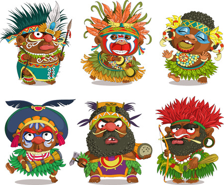 ceremonial makeup: The comic caricature. Funny African Papuan. Cartoon. Vector. Travesty cartoon. Characters.  Isolated objects. Illustration