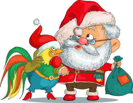 Vector. Funny cartoon. Santa Claus hand with a chicken. In his other hand he holds a bag with gifts. Isolated objects.