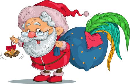 Vektor. Lustige Karikatur. Weihnachtsmann und ein Hahn in der Tasche. Weihnachtsmann eine Glocke läuten und weckt ihn. Isolierte Objekte.
