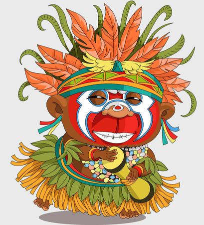 Die Comic-Karikatur. Lustige afrikanische Papuas. Karikatur. Vektor. Travestie-Cartoon. Figuren. Isolierte Objekte Illustration