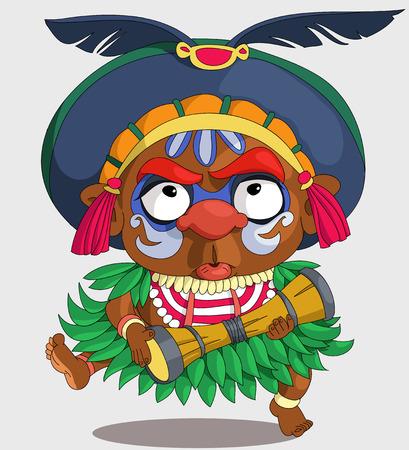 La caricature comique. Papoue africaine drôle. Dessin animé. Vecteur. bande dessinée Travesty. Personnages. objets isolés. Vecteurs
