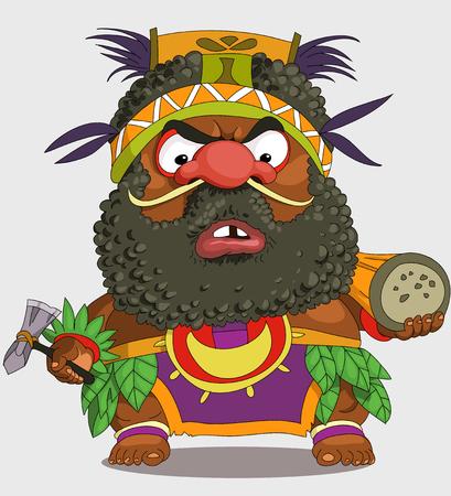 Die Comic-Karikatur. Lustige afrikanische Papuas. Karikatur. Vektor. Travestie-Cartoon. Figuren. Isolierte Objekte.