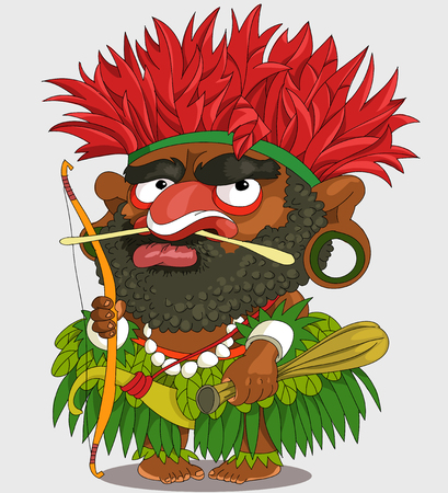 The comic caricature. Funny African Papuan. Cartoon. Vector. Travesty cartoon. Characters.  Isolated objects. Illustration