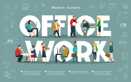 Vector illustration.Group des modernen Menschen im Büro auf dem Hintergrund der Inschrift zu arbeiten. Umgeben von Business-Symbole. Geschäftsleute Gruppe über konzeptionelle. Isolierte Objekte.
