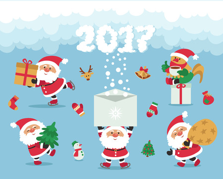Vector. Funny cartoon. Santa Claus congratulates and gives presents. 2017 Year of the rooster.