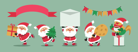 Vector. Funny cartoon. Set of Santa Claus. 2017 Year of the rooster. Isolated objects. Illustration