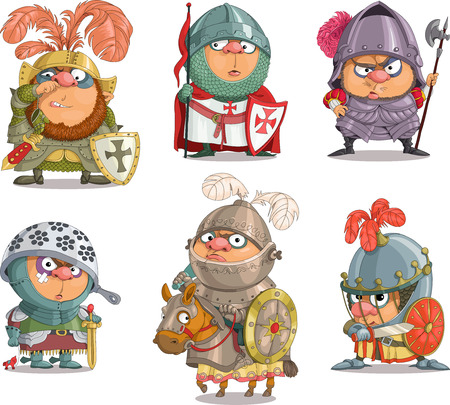 Die Comic-Karikatur. Karikatur. Vektor. Set lustige Ritter. Travestie-Cartoon. Figuren. Isolierte Objekte. Illustration