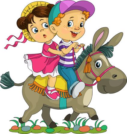 Karikatur. Vektor-Illustration. Lustige Kinder auf einem Esel reiten.
