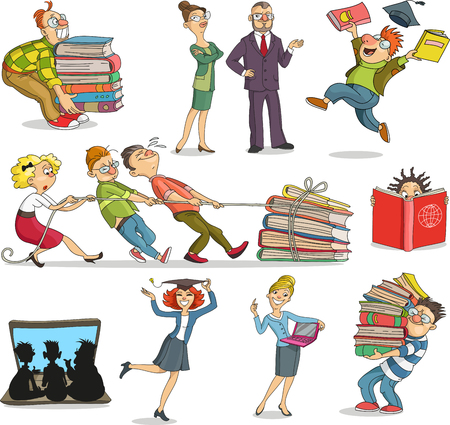 Vector illustration. les gens de dessins animés qui sont instruits, l'apprentissage à l'aide de livres et de l'ordinateur. bagages des connaissances. Engagement à la formation. Personnages. objets isolés.