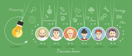Business Team von Menschen auf dem Konzept. Portraits von Menschen auf dem Hintergrund der Business-Symbole. Rocking Geschäftsideen. Partnerschaft. Mind Map-Team.