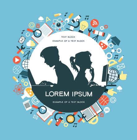 Der Begriff der Bildung. Icons Bildung. Online-Bildung, Silhouetten von Jungen und Mädchen in den Computern in einer Umgebung von Bildung Icons beteiligt. Illustration