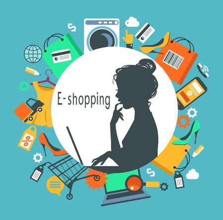 Woman shopped online store. E-shopping concept. Illustration