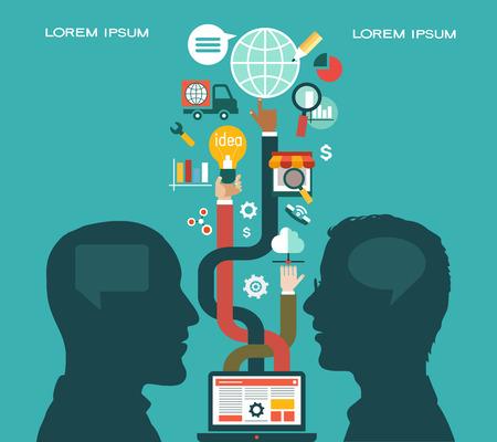 Flach Vektor-Business-Kommunikation und Verbindung Business-Konzept