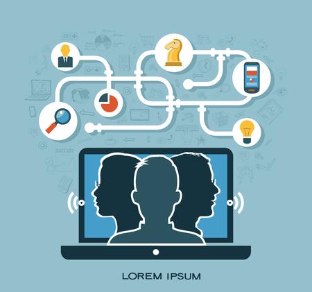 Blase flach Vektor-Business-Kommunikation und Verbindung Business-Konzept. Illustration