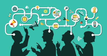 Geschäftsleute Gruppe über konzeptionelle. Silhouetten von Menschen auf einem Hintergrund von Business-Icons. Partnerschaft. Mind Map Team.