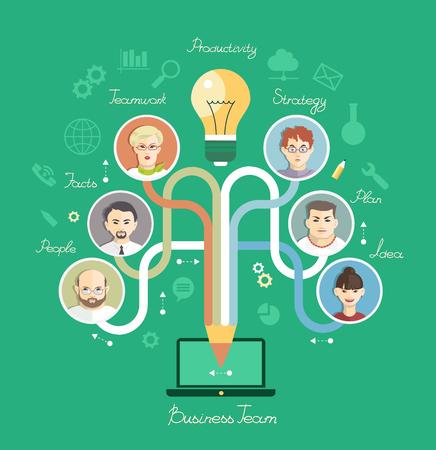 Geschäftsleute Gruppe über konzeptionelle. Partnerschaft. Mind Mapvector Sammlung von Erfolg, Büroangestellten und Business-Team. Infografischer Hintergrund.