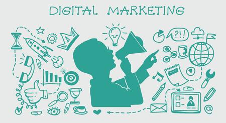 Geschäftskonzept. Marketing und Austausch von digitalen Inhalten. Gekritzel-Set. Illustration