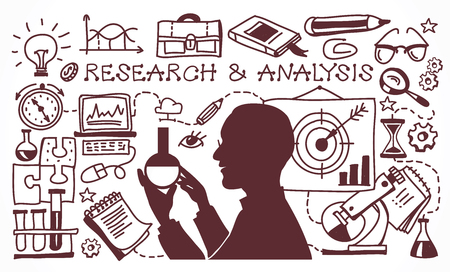 Concept study business problems and its analysis. Research & analysis. Doodle set.  Background business concept.