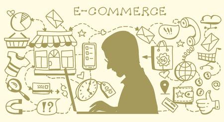Infografiken Hintergrund E-Commerce. Geschäftskonzept. Hand gezeichnet Vektor-Illustration.